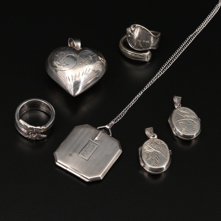 Sterling Silver Jewelry Including Puff Heart Pendant and Spoon Ring