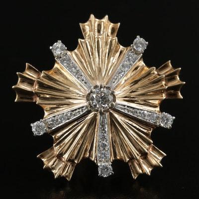 1940s Retro Tiffany & Co 14K Diamond Starburst Brooch