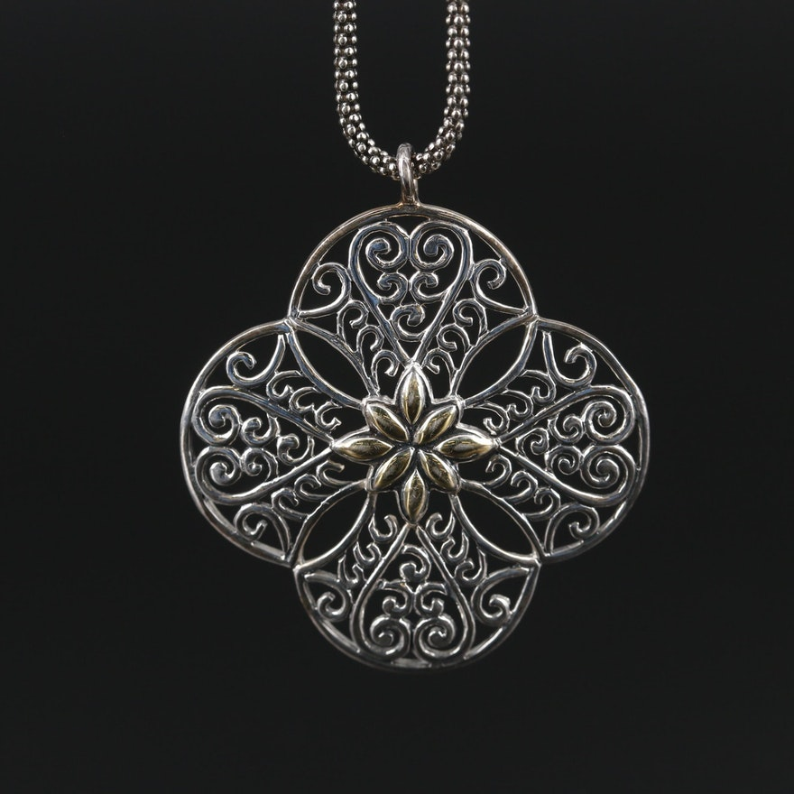 Sterling Silver Openwork Pendant on Popcorn Chain Necklace