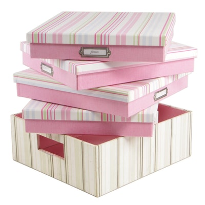 Pottery Barn Pink Striped Storage and Document Boxes