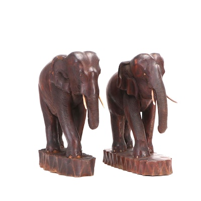 Carved Wood Elephant Sculptures