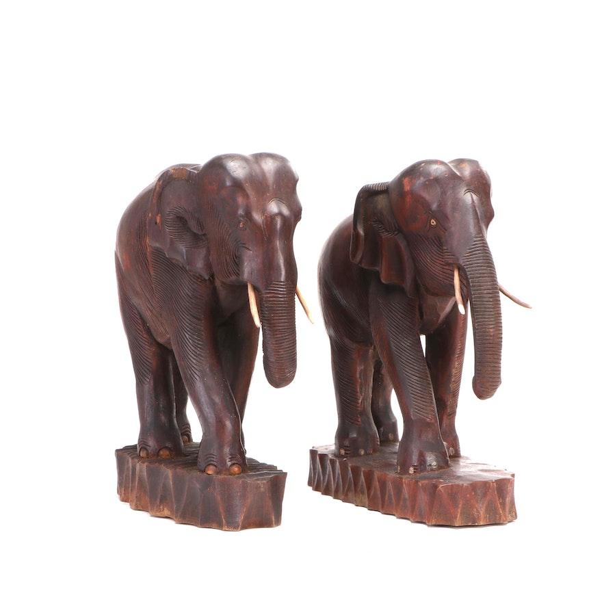 Carved Wood Elephant Sculptures