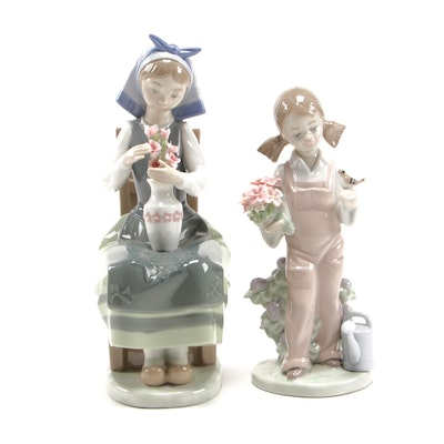 "Lladró ""Flower Harmony"" and ""Spring"" Porcelain Figurines"