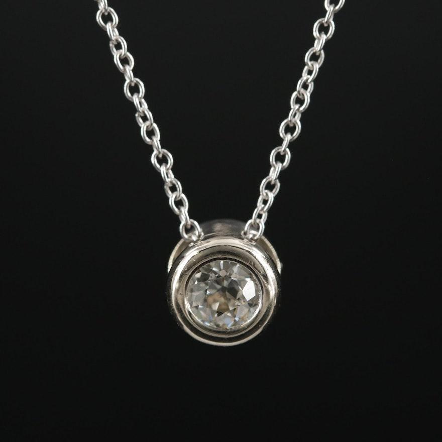 14K Gold 0.40 CT Diamond Solitaire Pendant Necklace