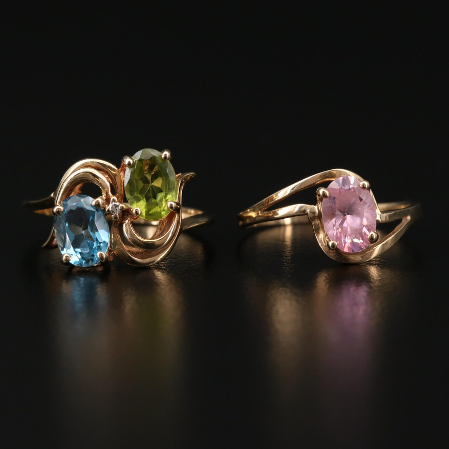 10K Yellow Gold Rings with Topaz, Peridot, Diamond and Cubic Zirconia