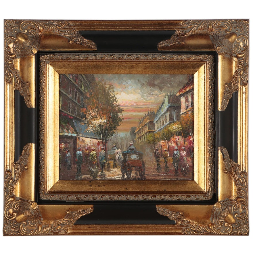 Cityscape Oil Painting, Late 20th Century