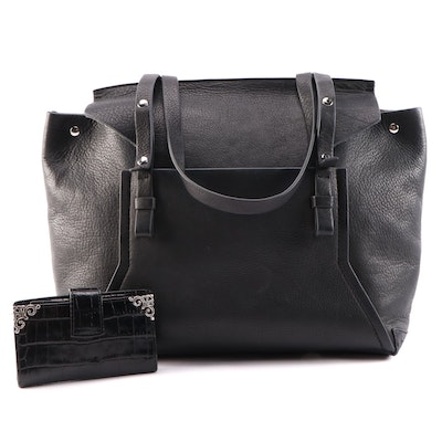 Jay Adoni New York Black Pebble Leather Bag and Brighton Embossed Leather Wallet