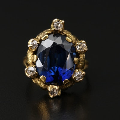 Antique 10K Yellow Gold Synthetic Sapphire and Diamond Ring