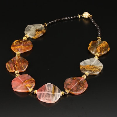 Smoky Quartz and Glass Necklace