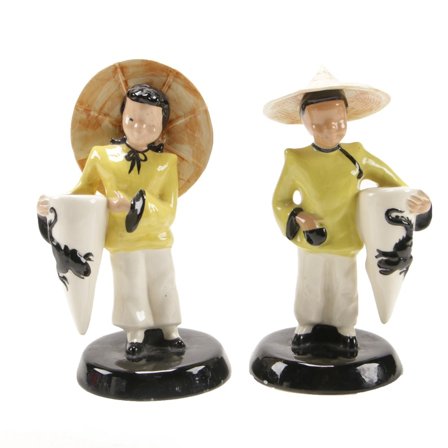 Vilas Asian Man and Woman Ceramic Figurines, Mid-20th Century