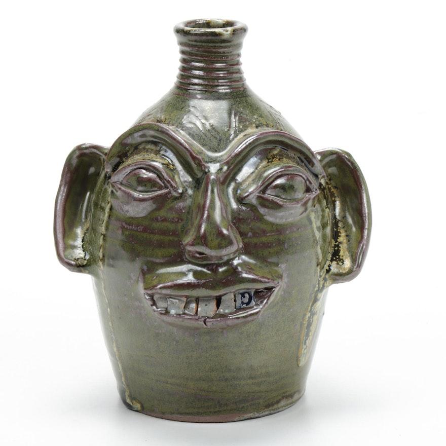 "Randy Myers Pottery Earthenware Face Jug ""Homage to Burlon Craig"""