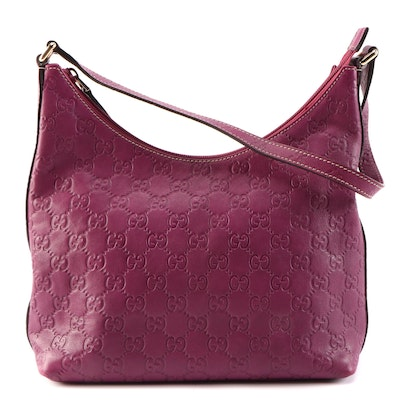 Gucci Magenta Guccissima Leather Hobo Bag with Contrast Stitching