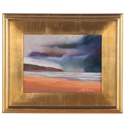 """Jay Wilford Coastal Landscape Oil Painting """"Ocean Squall"""""""