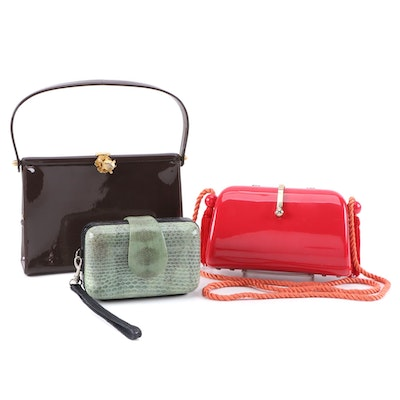 Dorian Patent Leather Handbag with John Carlo Creations Wristlet and Other Purse