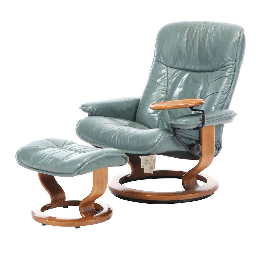 J.E. Ekornes Leather-Upholstered Armchair and Ottoman