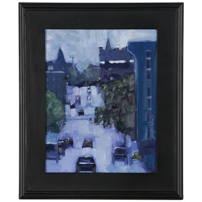 "Jay Wilford Street Scene Oil Painting ""Morning Traffic"""