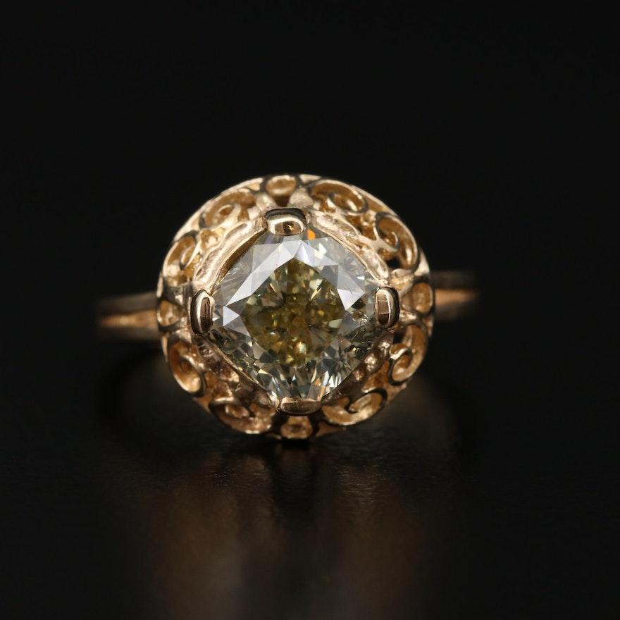 14K Gold 3.01 CT Diamond Scrollwork Ring