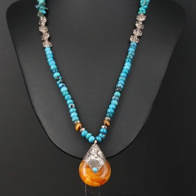 Sterling Silver Amber, Turquoise, and Tiger's Eye Pendant Necklace
