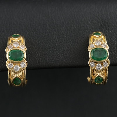 18K Gold Emerald and Diamond J-Hoop Earrings