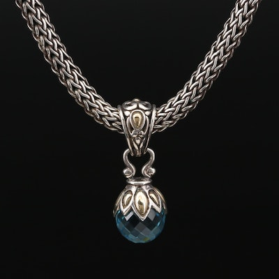 John Hardy Sterling Silver Topaz Pendant Necklace with 18K Gold Accents