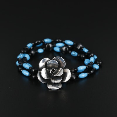 Sterling Turquoise and Black Onyx Floral Expandable Bracelet