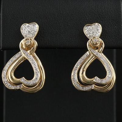 18K Yellow Gold Diamond Heart Dangle Earrings