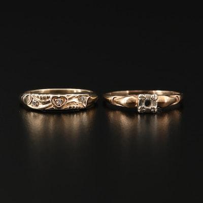 Vintage 10K Yellow Gold Diamond Semi-Mount Ring and Band