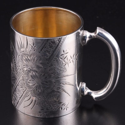 American Chased Sterling Silver Mug with Floral Motif, Early 20th Century