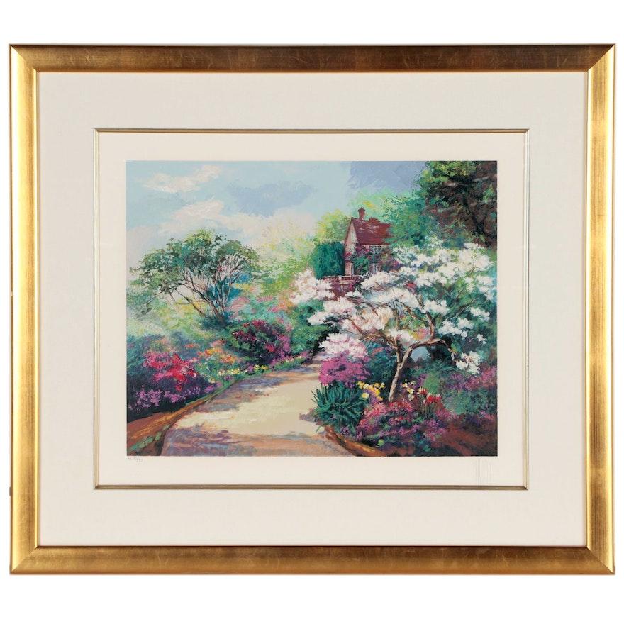 "Mark King Serigraph ""Spring Magnolia Blossoms"""