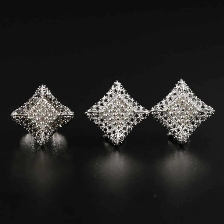 14K Gold Diamond 1.68 CTW Ring and 2.55 CTW Earring Set