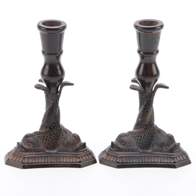 Pair of Cast Metal Koi Fish Candlesticks, Mid to Late 20th Century