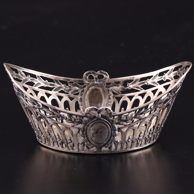 German Pierced 800 Silver Individual Nut Bowl, Late 19th/Early 20th Century
