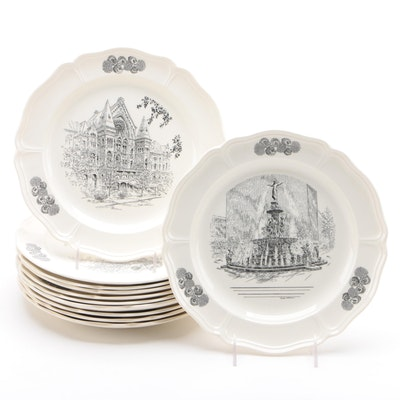 "Wedgwood ""Scenes of Cincinnati"" Dinner Plates, Late 20th Century"