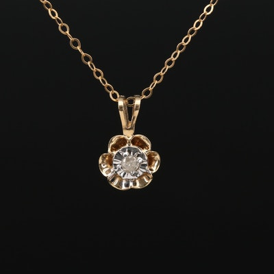 10K Yellow Gold Diamond Pendant On Cable Chain Necklace