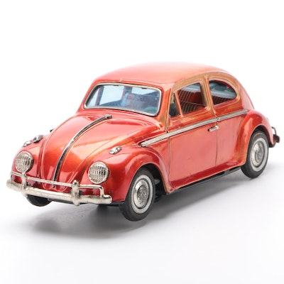 Bandai Battery Operated Red Volkswagen Beetle Toy Car, Mid-20th Century