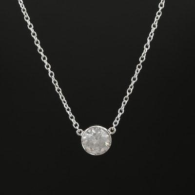 14K White Gold 0.46 CT Diamond Necklace