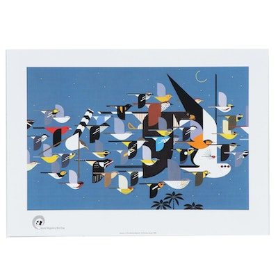 "Offset Lithograph after Charley Harper ""Mystery of the Missing Migrants"""