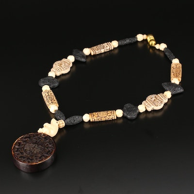 Asian Style Carved Bone Pendant Necklace