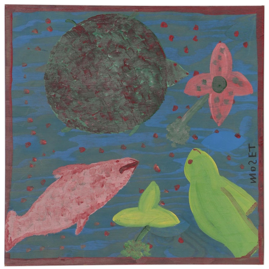 "Mose Tolliver Folk Art Acrylic Painting ""Fish and Turtle Fantacy"""