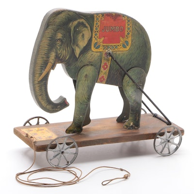 "Gibbs ""Performing Jumbo"" Elephant Pull Toy with Patented Date of 1911"