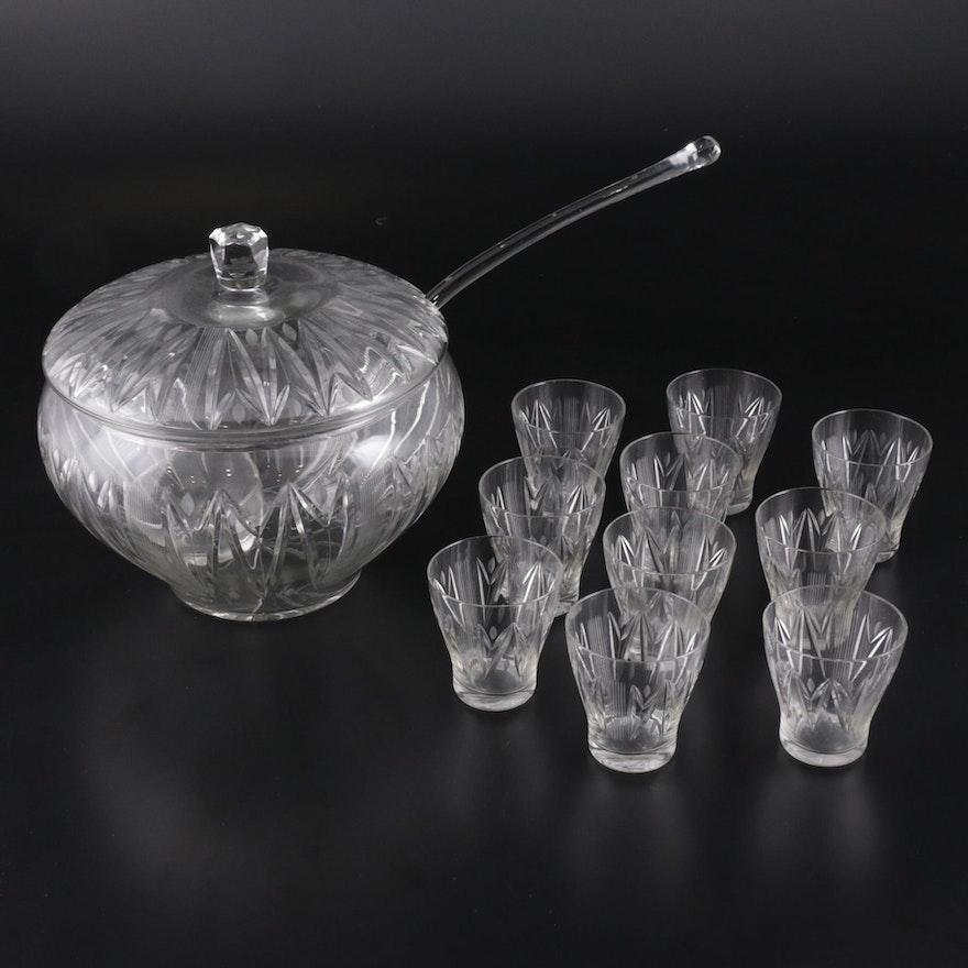 Art Deco Cut Glass Punch Bowl Set, 1930s