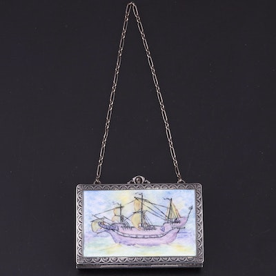 R. & G. Co. Sterling Silver and Hand-Painted Enamel Minaudière