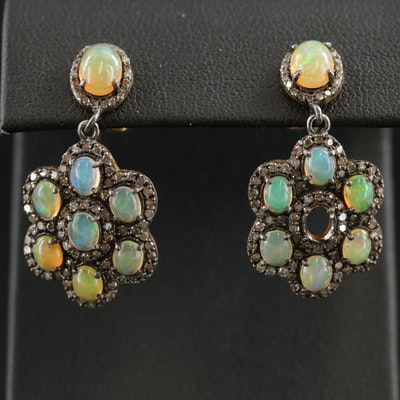 Sterling Silver Opal and Diamond Drop Earrings