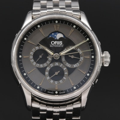 Oris Artelier Complication Moonphase Stainless Steel Automatic Wristwatch