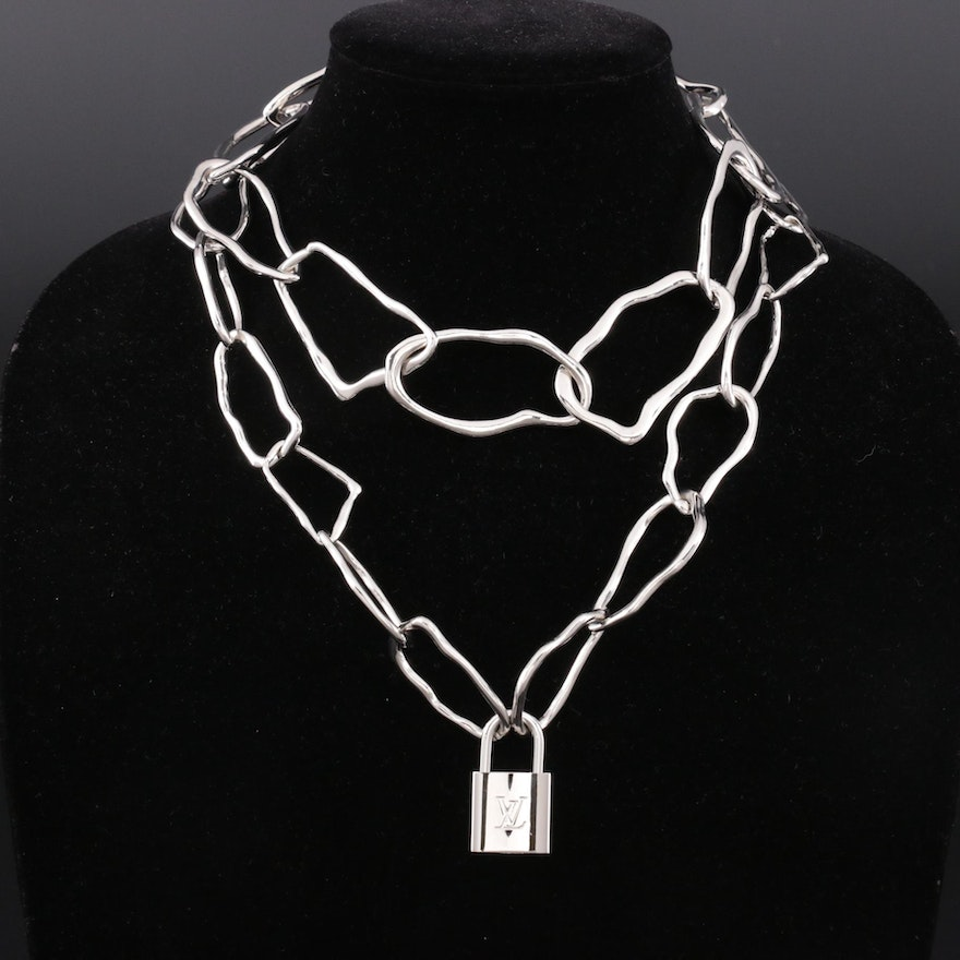 Louis Vuitton Lock on Abstract Modernist Style Chrome Link Necklace