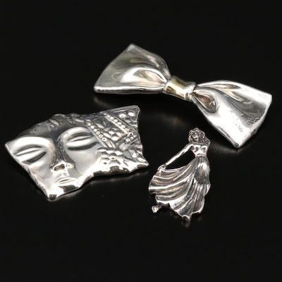 Sterling and 950 Silver Brooches Including Dancing Female Pendant