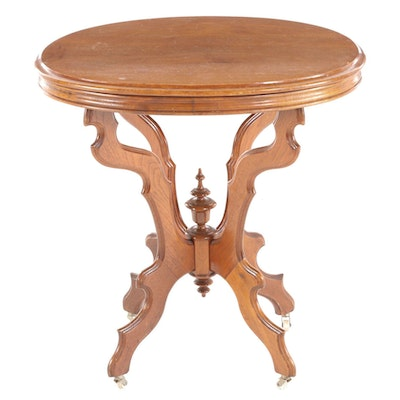 Victorian Ahbsler & Horst Walnut Oval Center Table, Late 19th Century