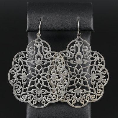 Floral Motif Openwork Dangle Earrings