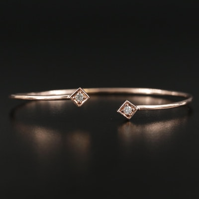 14K Rose Gold Diamond Finial Cuff