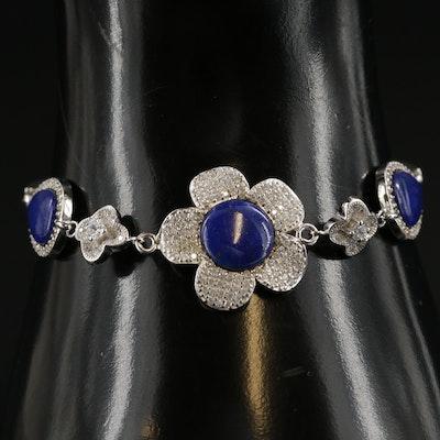 Sterling Silver, Lapis Lazuli and Cubic Zirconia Bracelet